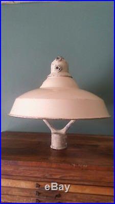 Vintage Porcelain Enamel Gas Station Island Light Auto Service