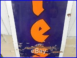 Vintage Porcelain FIRESTONE TIRES GAS STATION OIL 6' VERTICAL ADVERTISING SIGN