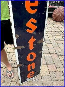 Vintage Porcelain Firestone Tire Battery Vertical Sign Gasoline Gas Oil 72in