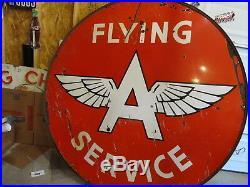 Vintage Porcelain Flying Service 6 Ft. Station Sign With Orig. Ring Super Rare
