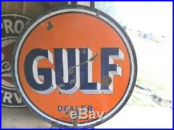 Vintage Porcelain Gulf Dealer Double Sided 65 Sign With Orig. Mount Ring