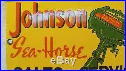Vintage Porcelain Johnson Sea Horse Sales And Service Outboard Boat Motor Sign