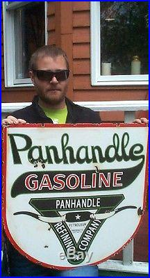 Vintage Porcelain Panhandle Gas Gasoline Motor Oil Metal Sign 24X24 Texas