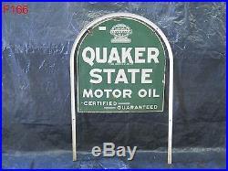 Vintage Porcelain Quaker State Motor Oil Tombstone Sign Original Stand Rare 1932