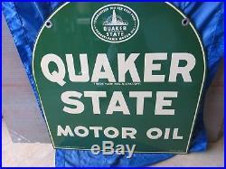 Vintage Porcelain Quaker State Tombstone Side Walk Sign New Old Stock 1951