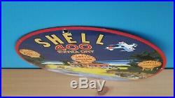 Vintage Porcelain Shell Gasoline Service Station 400 Extra Dry Pump Plate Sign