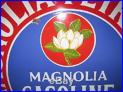 Vintage Porcelain Sign Magnolia Oil Co.'30s Colorful Double Sided RARE, Old