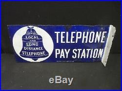 Vintage Porcelain Telephone Pay Station Flange Sign