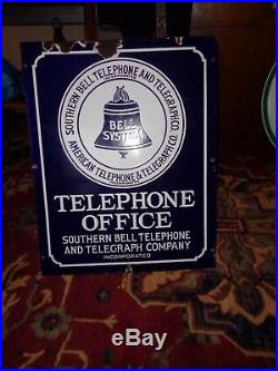 Vintage Porcelain Telephone Sign Bell System Southern Bell At&t 19 1/2 X 24 1/2