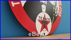 Vintage Porcelain Texaco Gasoline Service Station Attendant Pump Plate Sign