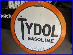 Vintage Porcelain Tydol Service Station Sign 47 Double Sided Burdick