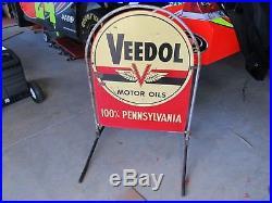 Vintage Porcelain Veedol Motor Oils Tombstone Side Walk Sign 1950's With Stand