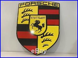 Vintage Porsche Porcelain Dealership Sign Gas, Oil, Stuttgart, Germany, Ferrari