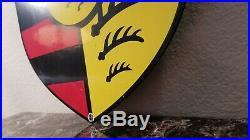 Vintage Porsche Porcelain Gas Auto Stuttgart Dealership Service Sales Sign