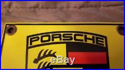 Vintage Porsche Porcelain Gas Auto Stuttgart Service Station Dealership Sign