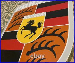 Vintage Porsche Porcelain Sign 14 X 18 Stuttgart Dealership 911 Carrera Coupe
