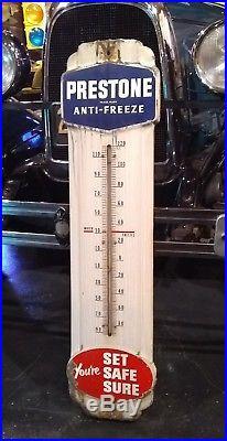 Vintage Prestone Anti-Freeze Gas Oil Porcelain Metal Thermometer Sign Old