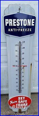 Vintage Prestone Anti Freeze Porcelain Thermometer