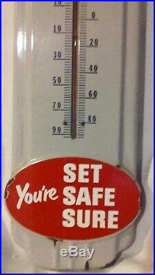 Vintage Prestone Anti Freeze Thermometer Sign 36 Porcelain Gas Oil Garage