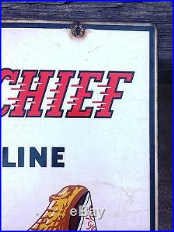 Vintage RARE Original TEXACO FIRE CHIEF 1947 Porcelain Metal Pump Sign