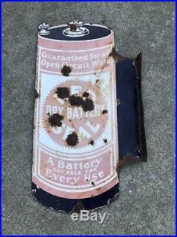 Vintage RARE Red Seal Dry Battery 1920s Double sided Porcelain Flanged Sign