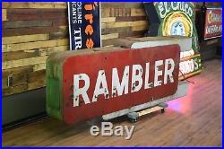 Vintage Rambler Neon Porcelain Sign 2 sided Dealership Barn Find 8ft WILL SHIP