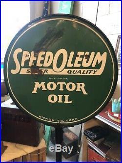 Vintage Rare Detroit Hi-Speed Porcelain Lollipop Sign Gas Oil Nice