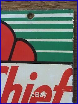 Vintage Rare Original 8x12 Texaco Sky Chief Gasoline Porcelain Pump Plate Sign