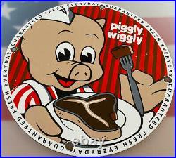 Vintage Rare Piggly Wiggly Porcelain Sign Pump Plate Oil Grocery Store Pig Food