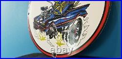 Vintage Rat Fink Porcelain Ed Roth Auto Mechanic Hot Rod Batman Service Sign