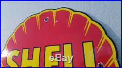 Vintage Red Clam Shell Gasoline Porcelain Gas Motor Oil Pump Plate Sign