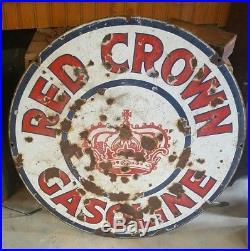 Vintage Red Crown 2 Sided Porcelain 30 Sign