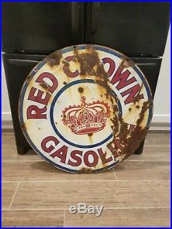 Vintage Red Crown Gasoline 30 Porcelain Double sided sign