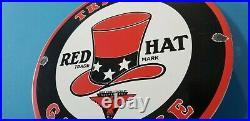 Vintage Red Hat Gasoline Porcelain Gas Service Station Pump Plate Oil Rack Sign