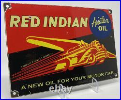 Vintage Red Indian Porcelain Sign Steel Gas Garage Pump Plate Aviation Motor Oil