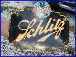 Vintage Schlitz Beer Porcelain Bar Lager Brewery Tap Milwaukee Gas Oil Sign