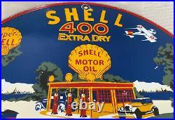 Vintage Shell 400 Extra Gasoline Porcelain Sign Gas Station Pump Plate Motor Oil