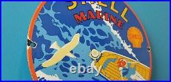 Vintage Shell Gasoline Porcelain Gas Marine Boat Service Station Pump Plate Sign