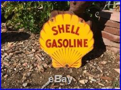 Vintage Shell Gasoline Porcelain Gas Pump Sign