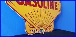 Vintage Shell Gasoline Porcelain Gas Service Station Pump Plate Clam Shape Sign