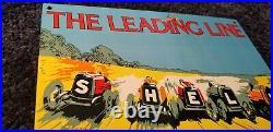 Vintage Shell Gasoline Porcelain Leading Line Service Station Pump Plate Sign