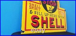 Vintage Shell Gasoline Porcelain Metal Gas & Oil Service Station Pump Plate Sign