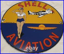 Vintage Shell Gasoline Porcelain Pin Up Sign, Gas Station, Pump Plate, Motor Oil