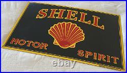 Vintage Shell Gasoline Porcelain Sign 12 X 20 Gas Service Station Motor Oil