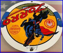 Vintage Shell Gasoline Porcelain Sign Zorro Gas Station Pump Plate Motor Oil