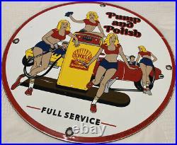 Vintage Shell Pin Up Gasoline Porcelain Sign Gas Station Pump Plate Motor Oil