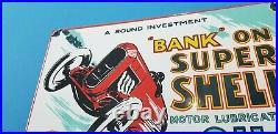 Vintage Shell Porcelain Gas Oil Bank Super Shell Service Station Pump Plate Sign