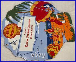 Vintage Shell Roxana Gasoline Porcelain Sign Gas Station Pump Plate Motor Oil