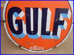 Vintage Sign Original Gulf Gasoline Double Sided Porcelain 42 Dia