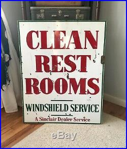 Vintage Sinclair Clean Rest Rooms Windshield Service Porcelain Sign 2-Sided 1959